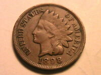 1898 Indian Head Cent Nice Very Fine VF Original Brown USA 1 Small Penny Coin