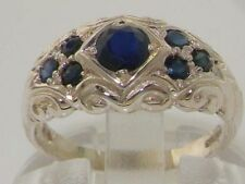 Band Natural Sapphire Sterling Silver Fine Rings