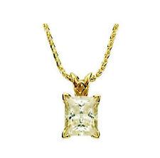 1 carat Princess cut Diamond VVS 14k Yellow Gold Pendant #204