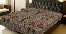 Indian Handmate Coverlet Queen Cotton Printed Bedspread Paisley Kantha Quilts