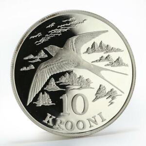Estonia 10 krooni Barn Swallow bird proof silver coin 1992