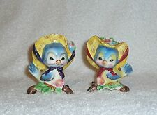 Vintage Anthropomorphic PY Norcrest Blue Bird Salt Pepper Shakers Bluebird Figur