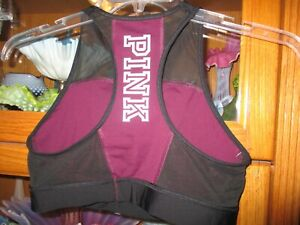 VICTORIAS SECRET PINK SPORTS BRA IN A LARGE BURGUNDY AND BLACK WORN ONCE