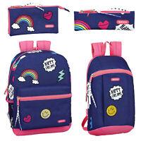 Rainbow Pink Backpack Girls School Bag Rucksack Travel Pencil Case Smile DREAMS