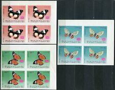 FAUNA_4559 1968 Yemen butterflies IMPERFORATE 3 * BLOCK MNH Combined payments