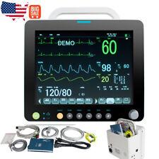 New Listing12 Portable Vital Signs Patient Monitor Spo2prnibpecgresptemp Cardiac Use