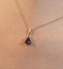 """NEW-14k Genuine Amethyst Triangle Pendant complete with 18"""" 14k Rope Style Chain"""