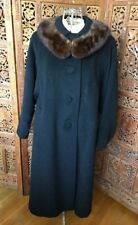 Classic Black Vintage Womens Coat With Brown Mink Fur Collar S/M