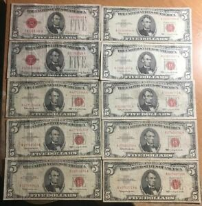 LOT OF 10 $5 UNITED STATES NOTES (RED SEAL) - 2 1928 - 8 1963 CIRCULATED LOT A