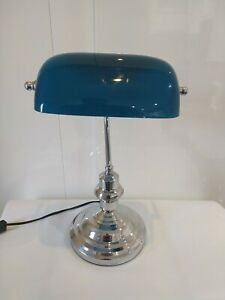 Lampe De Banquier , Notaire Opaline Bleu Turquoise