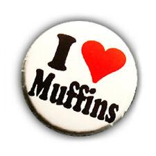 Badge I LOVE MUFFINS yummy golosità gourmandise gateau kawaii button pins Ø25mm.