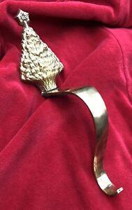 Vtg Solid Brass Christmas Tree Mantel Stocking Holder Hanger