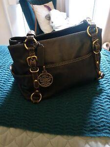 COLORADO Dark Brown Leather Shoulder Bag Handbag B7