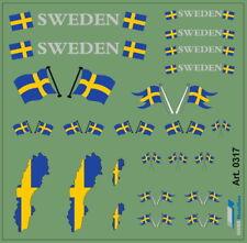 H0/1:87 DIS0317 Schwedische Fahnen Decal•für Auflieger und Zugmaschinen