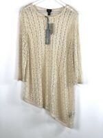 Chicos Travelers Asymmetrical Cream Gold Sparkle Loose Knit Sweater Size 3 NWT