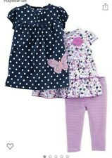 Carter's Baby Girl's 4-Piece Playwear Set Blue Floral Butterfly 3-6 Months  New