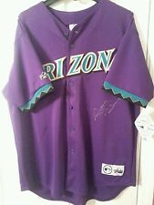 ARCHIE BRADLEY AUTO ARIZONA DIAMONDBACKS PURPLE MAJESTIC VINTAGE JERSEY SIZE XL