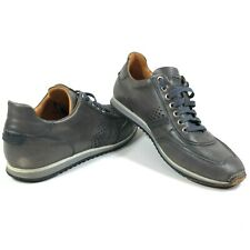 Magnanni Mens 8 Cristian Leather Gray Perforated Lace Up Walking Sneaker Shoes
