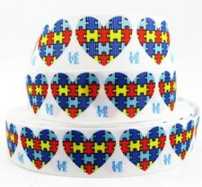 Autism Awareness Heart grosgrain ribbon hair bows key chains lanyards crafts