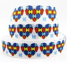 Autism Awareness Heart grosgrain ribbon hair bows key chains lanyards crafts