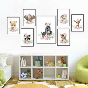Animal Canvas Poster Art Prints Modern Nursery Print Picture Baby Room Decor
