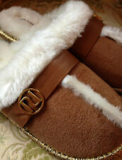 B/NEW Ltd Edition RARE RIVER ISLAND Signature LOGO FLUFFY FUR SLIPPERS SOLD-OUT