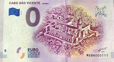 BILLET 0 EURO CABO SAO VICENTE SAGRES PORTUGAL  2019-2  NUMERO  111