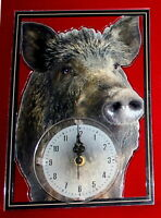 Horloge pendule animaux sanglier 1 clock uhr reloj boar