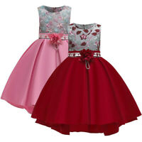 Kids Girls Fashion Floral Princess Pageant Gown Birthday Party Wedding Dresses