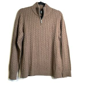 Bogner 1/4 Zip Cable Knit Sweater Wool Cashmere Womens 12 Brown