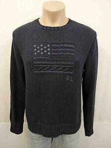NEU POLO RALPH LAUREN RL Pullover Gr.XL 52 USA Flagge 100% Baumwolle Dunkelblau