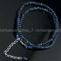 """2x4mm Dark Blue Apatite Faceted roundlle Gemstone Colliers 18/"""""""