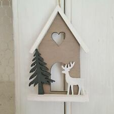 WOODEN REINDEER HOUSE HANGER CHIC N SHABBY CUT OUT HEART CHRISTMAS DECORATION