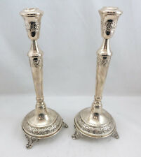 """Silver 800 Candlesticks Set/Pair of 2 12"""" Height 346grams"""
