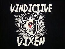Vindictive Vixen Roller Derby Girl Punk Rock Roller Skating T Shirt L