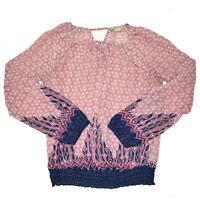 Lucky Brand Blouse Women's Small Sheer Boho Geo Print Pink Blue Long Sleeve