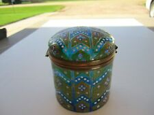 Antique Heavily Enamel Painted Decorations Over Blue Trinket Box With Lid Set
