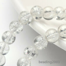 """31"""" Strand Crackle Glass Round Beads Jewelry Craft Findings 6mm Choice of Colors"""