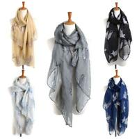 Stylish Women Ladies Lovely Small Cat Print Voile Long Scarf Warm Wrap Shawl 1PC
