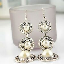HOT Boho Round Circle Pearl Dangle Tassel Silver Hook Earrings Ethnic Long Chain