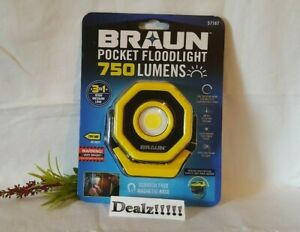 **NEW**Braun 750 Lumens Pocket Floodlight with Magnet Base Rechargeable Compact