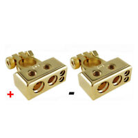 1 Pair Of 0/4/8 Awg Gauge Car Positive Negative Battery Terminal Clamp Universal
