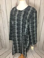 Sejour Textured Snakeskin Print Front Zip Topper Jacket Womens Plus Size 24W NWT