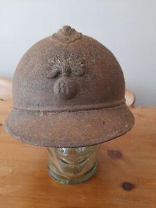WW1 Helmet French Adrian 3 piece constuction Infantry Badge. Sound Relic.