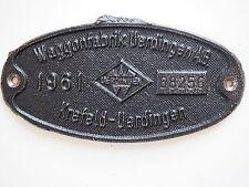 "Altes Eisenbahnschild Lokschild Schild ""Waggonfabrik Uerdingen AG 1961 Krefeld"""