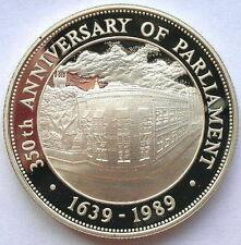 Barbados 1989 Parliament 50 Dollars 1oz Silver Coin,Proof