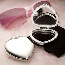 120 Silver Heart Compact Mirror Wedding Shower Bridal Shower Party Gift Favors