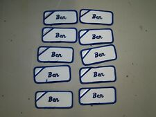 (10) Ben Embroidered Name Tag-Patch Sew on/ Iron on New Blue Trim