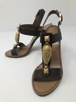 $995 New Valentino Garavani Womens Brown Rockstud Sandals Size 6 US 36 EU