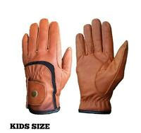 Kids Childrens Equestrian Horse Riding Gloves Genuine Real Leather BLACK BROWN